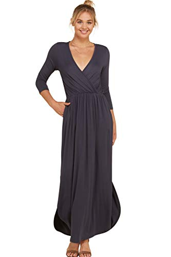 Annabelle Women's V-Neck 3/4 Sleeve Solid Round Hem Maxi Plus Size Dress Empire Pleated with Slit and Pockets Slate XXX-Large D5241P