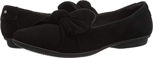Womens Black Suede Loafers Shoes - CLARKS Women's Gracelin Jonas Loafer Flat, Black Suede, 060 M US