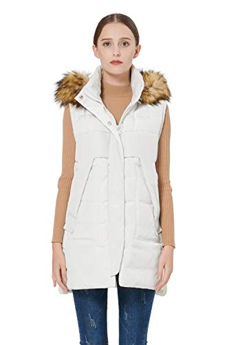 Orolay Women's Winter Long Down Vest with Faux Fur Trimmed Hood Casual Zip up White XXL