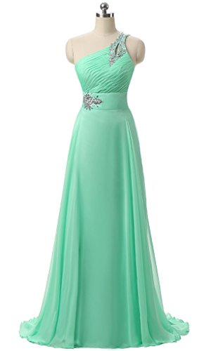 Vantexi Women's Chiffon One-shoulder Formal Prom Bridesmaid Dress Mint 30