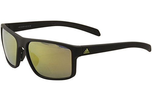 adidas Whipstart Non-Polarized Iridium Rectangular Sunglasses, Black Matte Gold, 61 (Adidas Gold Lens)