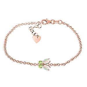 QP bijoutier naturel péridot & Opal Bracelet en or Rose 9 carats, 0.60ct coupe Marquise - 5026R