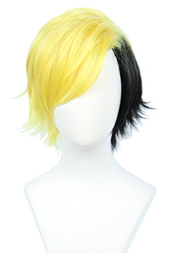 Linfairy Short Two Tone Layered Cosplay Wig Halloween Costume Wig for Men]()