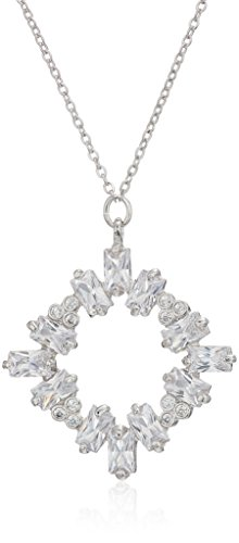 Necklace Pendant Baguette - CZ by Kenneth Jay Lane Women's Baguette Cluster Round Pendant Necklace, Clsi, One Size
