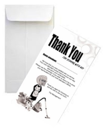 Housekeeping Tip Thank You Envelope, White, 3 1/2