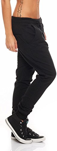 malito Pantalón Boyfriend Classic Botón Baggy Aladin Bombacho Sudadera 8023 Mujer Talla Única negro