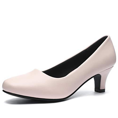 CINAK Women's Low Heels Dress Pumps-Classic Round Toe Slip on Basic Kitten Heels Shoes