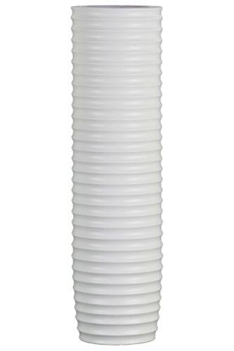 Urban Trends Ceramic Cylinder Ribbed Design Body LG Matte Finish White Vase ()