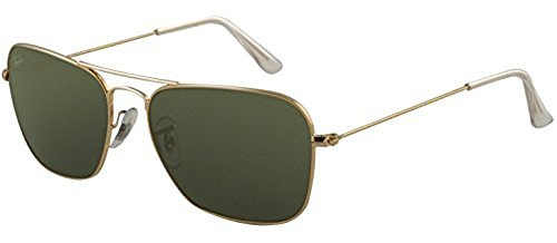 Ray-Ban Caravan RB 3136 Sunglasses Gold / Crystal Green 58mm & HDO Cleaning Carekit - Ban Ray Caravan 3136