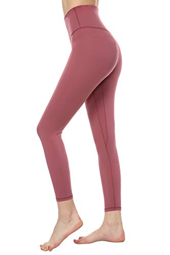 MOYOOGA Yoga Pants for Women - High Waisted Capri Leggings for Gym,Athletic,Workout,Active -Tummy Control Sports Compression Tights (M, Merlot Red)