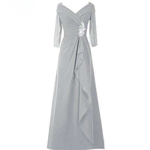 Mère De L'argent Robe De Mariée Robes Asbridal Soirée Longue En Mousseline De V Cou