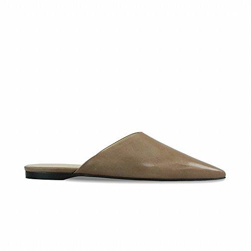 Zapatillas Baotou Pulir Medias Zapatos Muler Verano Plano Neto Apuntado DHG Perezoso 37 Femenino sin Rojo Tacón xq0P1yw6a