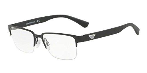 Emporio Armani 1055 Mens Designer Half-rim Flexible Hinges Eyeglasses/Spectacles (53-17-140, Matte - Glasses Armani Emporio