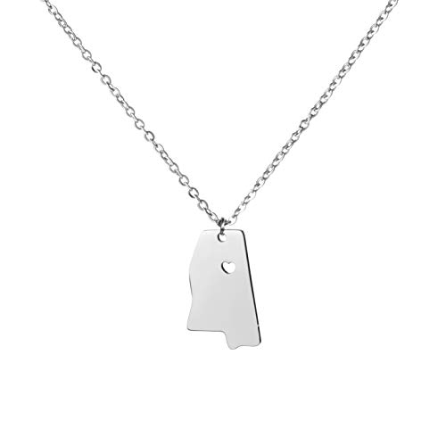 Graduation Necklace Gift for Girls State Jewelry Carved Pendant State -