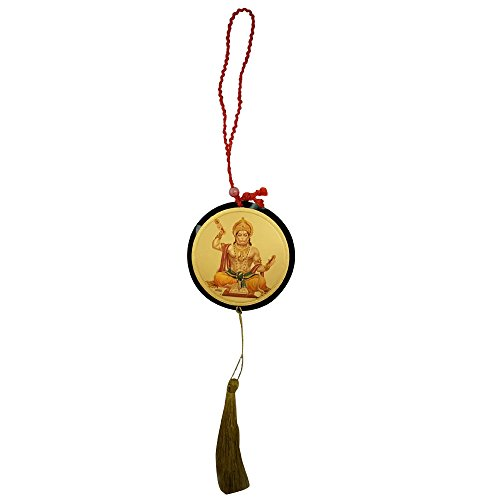 - Divya Mantra Sri Bajrang Bali Hanuman Talisman Gift Pendant Amulet for Car Rear View Mirror Decor Ornament Accessories/Good Luck Charm Protection Interior Wall Hanging Showpiece