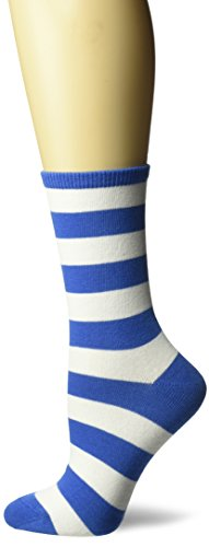 Hot Sox Women's Originals Fashion Crew Novelty Socks, College Rugby Stripe (Blue/White), Shoe Size: ()