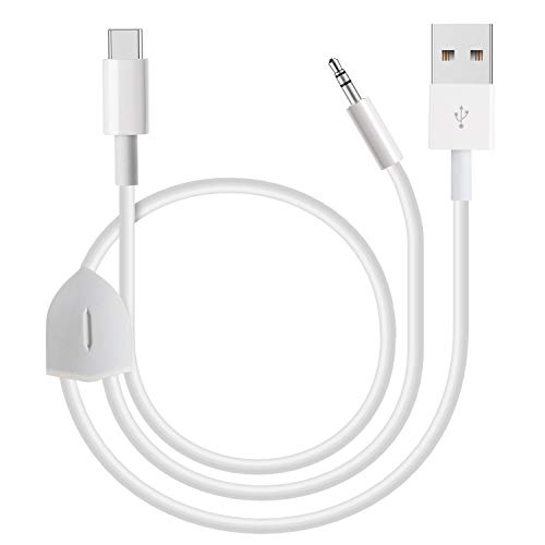 2 in 1 Car Aux Cable, Azddur 2 in 1 USB C to 3.5mm Car Aux Headphone Jack Cable and USB C Charging Cable Compatible with Google Pixel 4/4XL/3/3XL, Samsung Galaxy S20/S20+/Note 10/10+ and More (White)