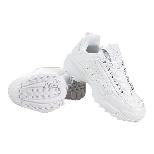 Fila Women's Disruptor II Premium Sneakers, White/White/White, 9 Medium US