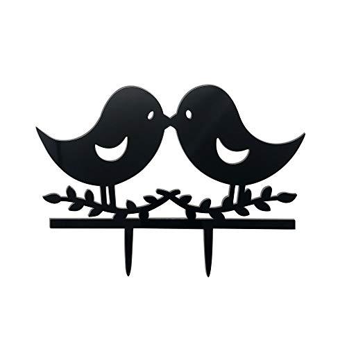 (Acrylic LOVE Birds Kissing Cake Topper Wedding Anniversary Engagement Favor,Q2091 )