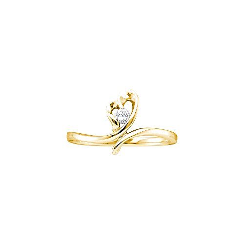14kt Yellow Gold Womens Round Diamond Heart Love Promise Bridal Ring 1/20 Cttw (I2-I3 clarity; H-I color) by Jewels By Lux (Image #1)