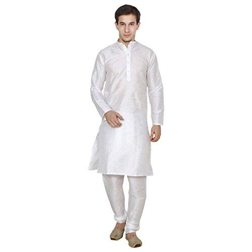 FOCIL Diwali Special Silk Blend White Men's Kurta Pyjama by FOCIL