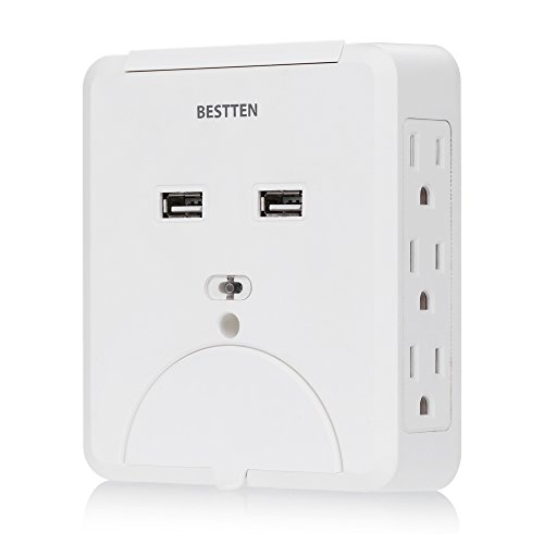 Bestten 15A 6 AC Outlet Plugs with 2.1A Dual USB Ports Unive