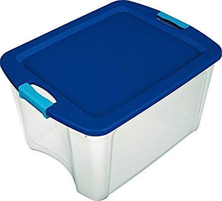 Sterilite72 Qt./18 Gal. Latching Storage Bin with Clear Base - True Blue