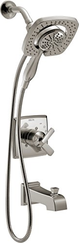 Delta Faucet Ashlyn 17 Series Dual-Function Tub and Shower Trim Kit with 2-Spray Touch-Clean In2ition 2-in-1 Hand Held Shower Head with Hose, Stainless T17464-SS-I (Valve Not Included)