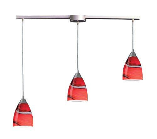 Pierra 3 Light Pendant - Elk 527-3L-CY 3-Light Pendant in Satin Nickel and Candy Glass