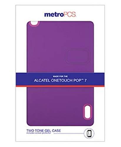 MetroPCS ALCATEL POP 7 Two Tone Pink/Purple Gel CASE & Screen  Protector-Metro PKG