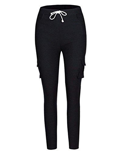 Di Con di Tempo Nero Eleganti Lunga Libero In Fit Mode Con Vita Elastico Accogliente Coulisse Donna Vita In marca Multi Autunno Interna Alta Primaverile Pantaloni Pantaloni Pantaloni Tasca Slim Jogging pYqCZdwxp