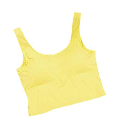 Fulok Womens Sexy Seamless No Underwire Mid Sports Yoga Bra Yellow Large