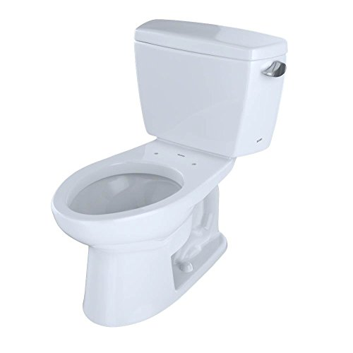 Toto CST744EFR.10No.01 Eco Drake Two-Piece Toilet, 1.28-GPF-Right Hand Trip Lever, Cotton