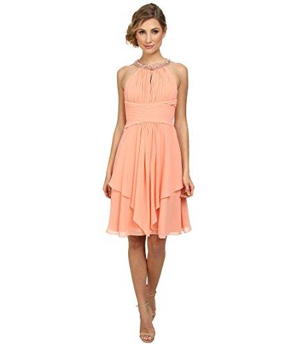 Empire Waist Dress Morgan Donna - Donna Morgan Women's Sophie Beaded Halter Dress, Peach Fuzz 10