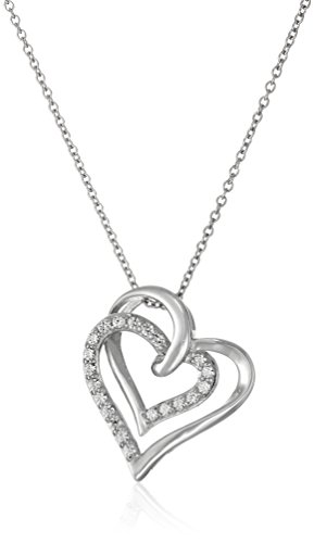 Amazon Collection Platinum-Plated Sterling Silver Swarovski Zirconia Two Open Hearts Adjustable Pendant Necklace, 18