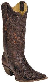 Corral Ladies Chocolate Vintage Lizard Overlay Western Boot