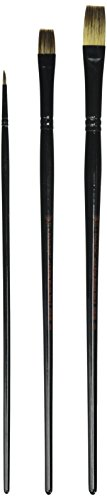 Weber 3-Piece Donna Dewberry Woil Brush Set, Includes No.8 Flat, No.6 Bright and No.0 Round by Weber