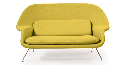 Cashmere Wool Blend Loveseat Sofa in Dijon
