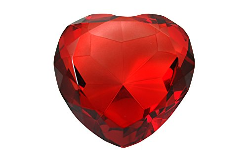 - Tripact 80 mm Ruby Red Diamond Heart Shaped Jewel Crystal Paperweight