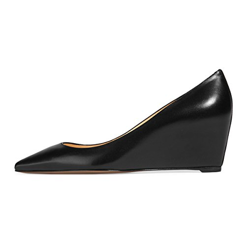 cheap recommend FSJ Women Fashion Closed Toe Wedge Pumps High Heel Handmade Slip On Comfort Shoes Size 4-15 US Black hot sale online find great cheap online cheap sale sale clearance sast YV9QPPjt