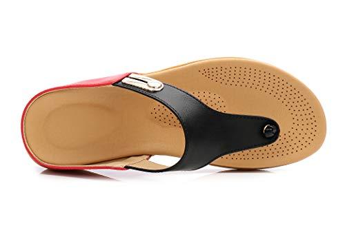 Talons D'été Pu Fortuning's Noir Rouge Mode Artificielle À Bohème Femmes Jds® Sandales Bas Chaussures Plage De 6wtt7qYg