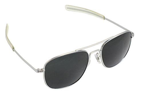 CampCo Humvee HMV-52B-MATT Polarized Bayonette Style Military Sunglasses with Gray Lenses and Matte Silver Frame, 52mm