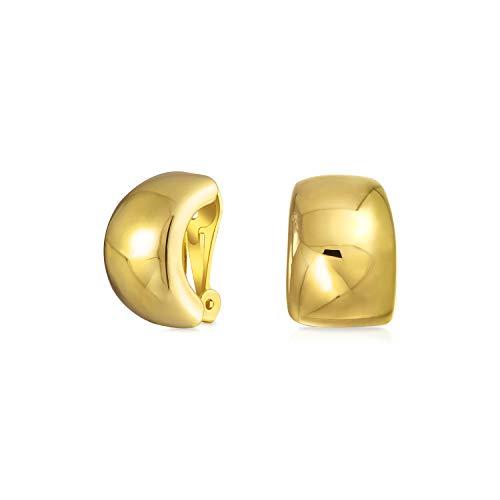 Geometric Plain Minimalist Shrimp Huggie Half Hoop Clip On Earrings For Women Non Pierced Ears 14K Gold Plate Brass ()