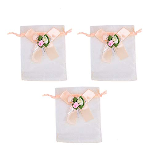 Monrocco 15 Pieces Bowtie Candy Gift Pouch Drawstring Bags Sheer Organza Wedding Favor Gift Bags with Flower Decorative