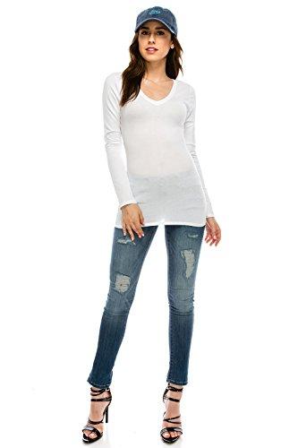 The Classic Women Basic Casual Slim Fit Soft & Stretch Lightweight V-Neck Long Sleeve Tops Tissue T-Shirt (Medium, (Crew Tissue)