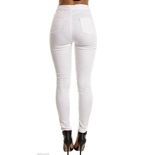 Slim Matita Pantaloni Sexy Bianco Stretch Evedaily Donna Jeans Scarni Skinny xwqgfq0n8I