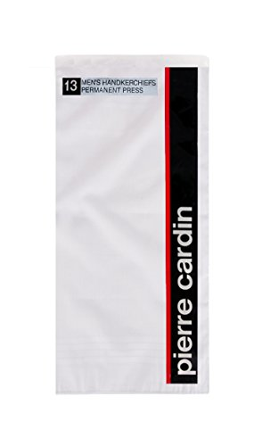 Pierre+Cardin+Handkerchief+16%22+x+16%22+with+Satin+Cord+13+Pack+-+White+Poly+Blend+Permanent+Press