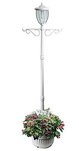 - Sun-Ray 312065 Kenwick Single-Head Solar Lamp Post and Planter, with Plant Hanger Dual Amber/White Light Switch, 7',