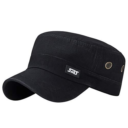 - Unisex Vintage Washed Distressed Baseball-Cap Twill Adjustable Dad-Hat litary Style Flat Cap Sport Sun Hat Black