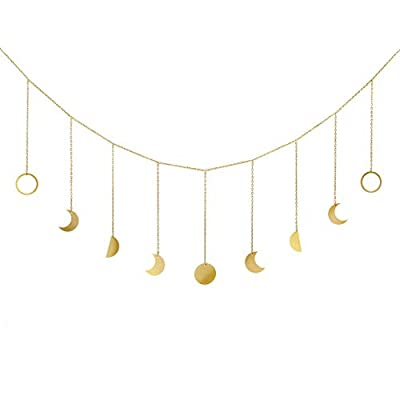 "Mkono Moon Phase Garland with Chains Boho Gold Shining Phase Wall Hanging Holiday Ornaments Moon Hang Art Room Headboard Decor for Bedroom Living Room Apartment Dorm Nursery Room Home Office, Gold - ✔ Unique Design: Inspired by the whole changing process of ""phase of moon"". Hanging it creates comfort and natural life for your living space, makes you feeling relaxed after stressed work. Nice ornament adds distinctive flair for home. ✔ Looks elegant and beautiful when it hanging on the wall or as backdrop. Prefect as decorative garland for living room, bedroom, office, dorm. It makes a lovely addition to hang on walls, shelves, bedpost, mirrors, fireplace, window and more. ✔ Versatile style metal wood banner is kind of wall art, fits to any home decor. Best gift ideas for your families and friends in Christmas, New year, or House warming, Graduation, Anniversary and more. - living-room-decor, living-room, home-decor - 31lrR05pI3L. SS400  -"